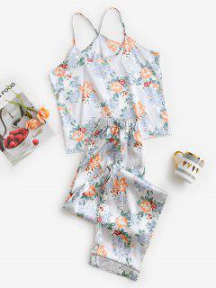 Ensemble Pyjama Deux Pièces Floral En Satin - Multi S
