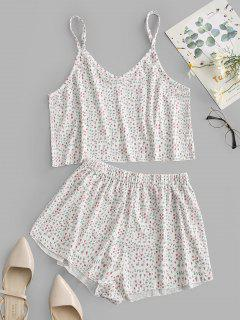 Ribbed Ditsy Floral Two Piece Pajama Set - White M