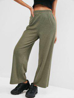 Pantalon En Jersey Jambe Large à Ourlet Brut - Vert Profond