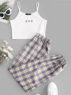 ZAFUL Floral Embroidered Plaid Jogger Two Piece Set - Purple Xl