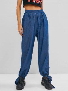 ZAFUL Chambray Knotted Hem Loose Pants - Light Blue M