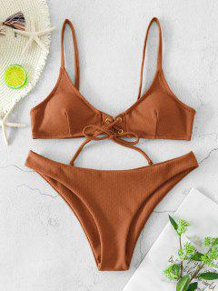 ZAFUL Lace Up Grommet Textured Bikini Swimsuit - Coffee S