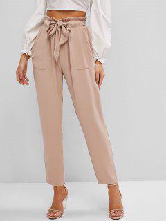 Slant Pockets Belted Paperbag Pants - Deep Coffee Xl