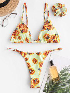 ZAFUL Maillot De Bain Bikini Matelassé Fleuri Papillon Imprimé - Jaune L