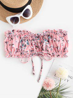 ZAFUL Ditsy Print Dual Ties Bandeau Bikini Top - Light Pink M