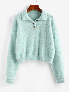 ZAFUL Fuzzy Henley Knitwear - Light Green L