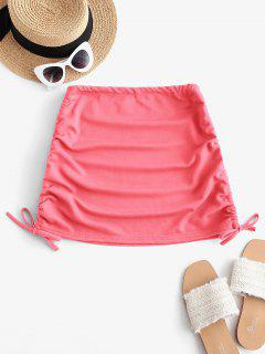 Ribbed Cinched Side Mini Skirt - Light Pink