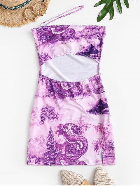 outfits Dragon Oriental One Shoulder Mini Dress - TYRIAN PURPLE L Mobile