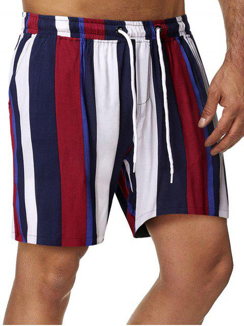 chic Vertical Stripe Print Drawstring Beach Shorts - MULTI M Mobile