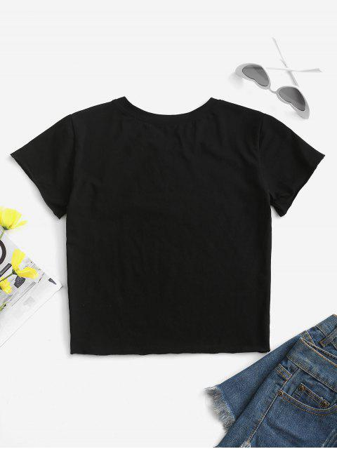 Dieses T-Shirt mit Floralem Tuschemalerdruck - Schwarz S Mobile