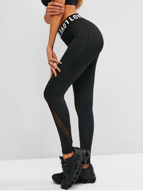 ladies Mesh Insert Letter Graphic Skinny Leggings - BLACK S Mobile
