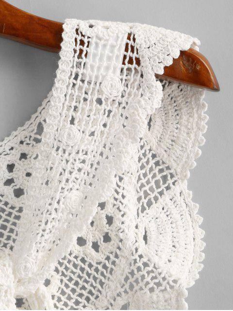 shop Crochet Lace Tie Versatile Beach Shawl - WHITE ONE SIZE Mobile