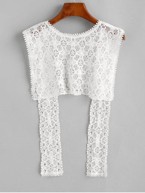 latest Crochet Lace Beach Shawl - WHITE ONE SIZE Mobile