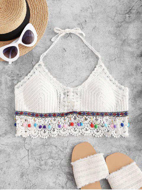 Top de Praia Frente-Única de Crochê com Pom-Pom - Branco Um Tamanho Mobile
