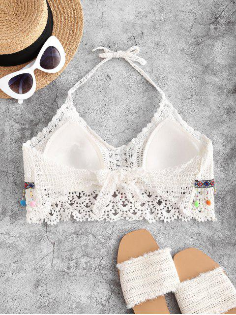 new Halter Crochet Pom-pom Beach Top - WHITE ONE SIZE Mobile