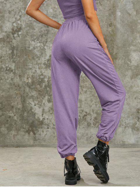 Pantalon de Jogging Slogan Dragon Imprimé à Coupe Haute - Violet clair S Mobile