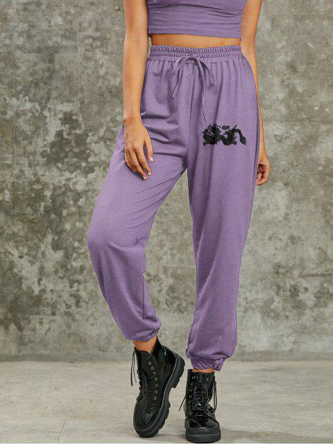 Pantalon de Jogging Slogan Dragon Imprimé à Coupe Haute - Violet clair S Mobile