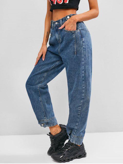 hot High Waisted Buttoned Tabs Jogger Jeans - BLUE M Mobile