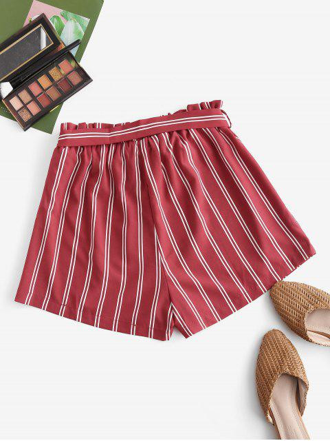 new Striped Print Mini Paperbag Shorts - RED L Mobile