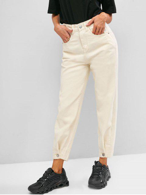 outfit High Waisted Buttoned Tabs Jogger Jeans - WHITE XL Mobile