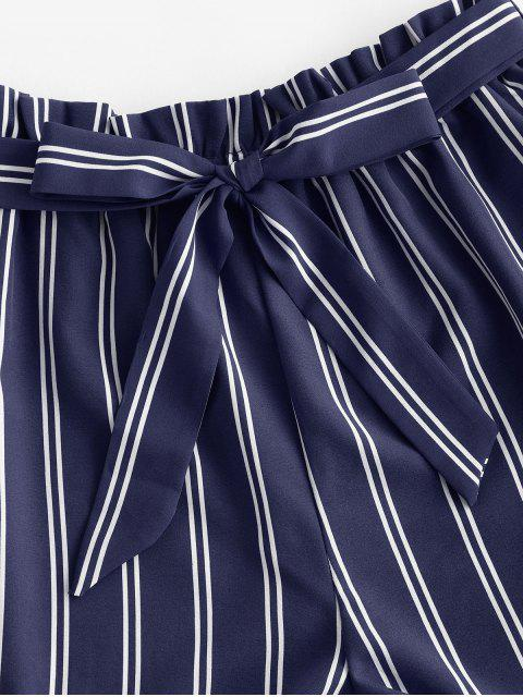 latest Striped Print Mini Paperbag Shorts - DEEP BLUE S Mobile