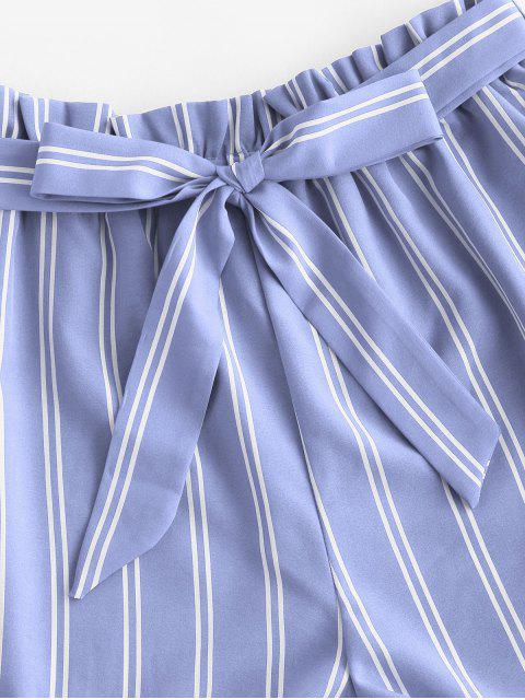 sale Striped Print Mini Paperbag Shorts - LIGHT BLUE XL Mobile