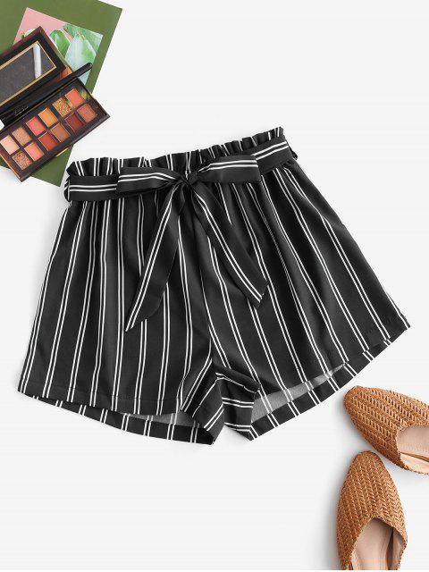 buy Striped Print Mini Paperbag Shorts - BLACK L Mobile
