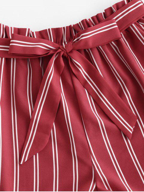 lady Striped Print Mini Paperbag Shorts - RED XL Mobile