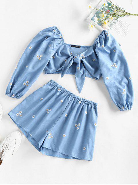 shops ZAFUL Daisy Print Tie Front Shorts Set - LIGHT BLUE M Mobile