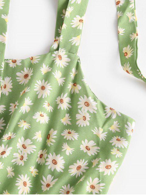 Robe Marguerite Imprimée Epaule Nouée sans Manches - Vert S Mobile