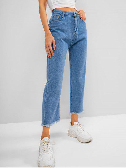 sale Frayed Hem Pocket High Waisted Straight Jeans - BLUE M Mobile
