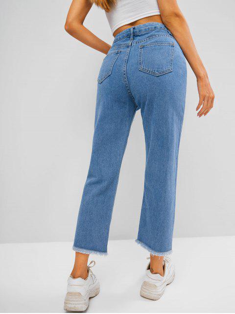 Jeans Rectos de Cintura Alta con Bolsillo - Azul L Mobile