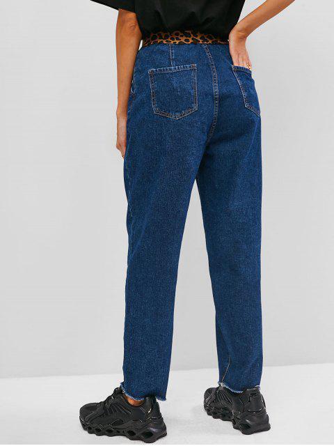 Jeans Rectos Deshilachados de Panel de Leopardo - Azul S Mobile