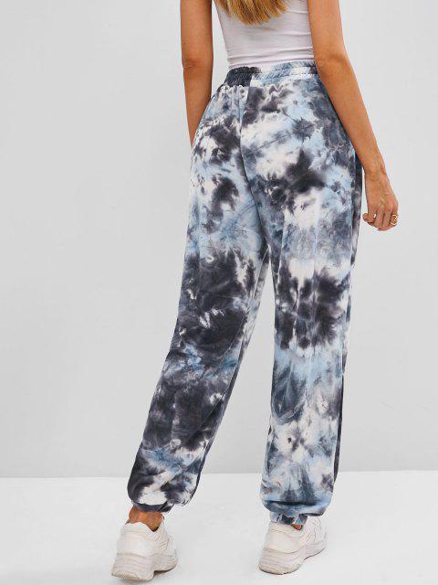 fashion Dragon Print High Rise Oriental Tie Dye Jogger Pants - GRAY L Mobile