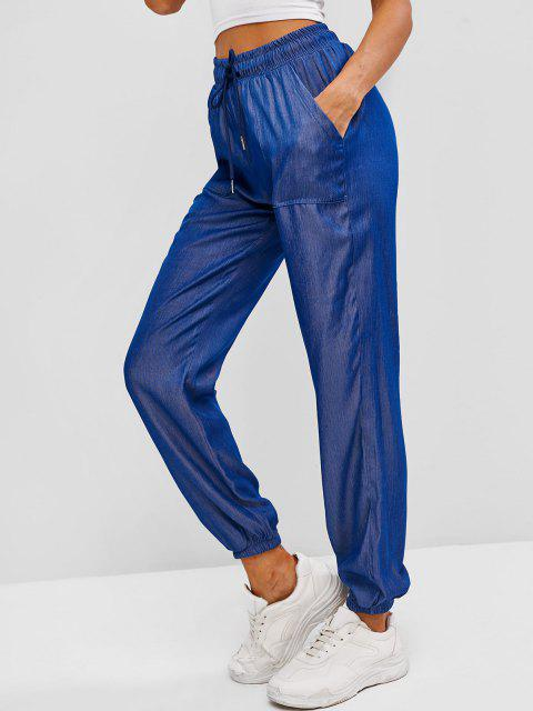 Pantalon de Jogging avec Poche en Tissu Rayé - Bleu profond S Mobile