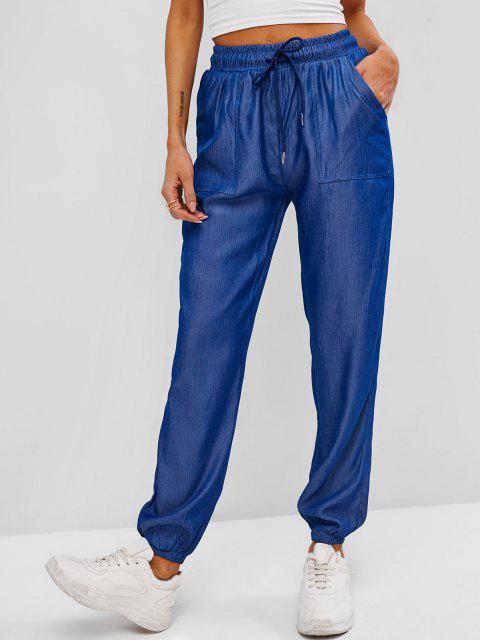 buy Slant Pockets Chambray Jogger Pants - DEEP BLUE S Mobile