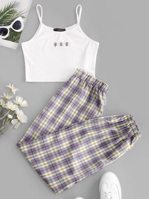 buy ZAFUL Floral Embroidered Plaid Jogger Two Piece Set - PURPLE XL Mobile