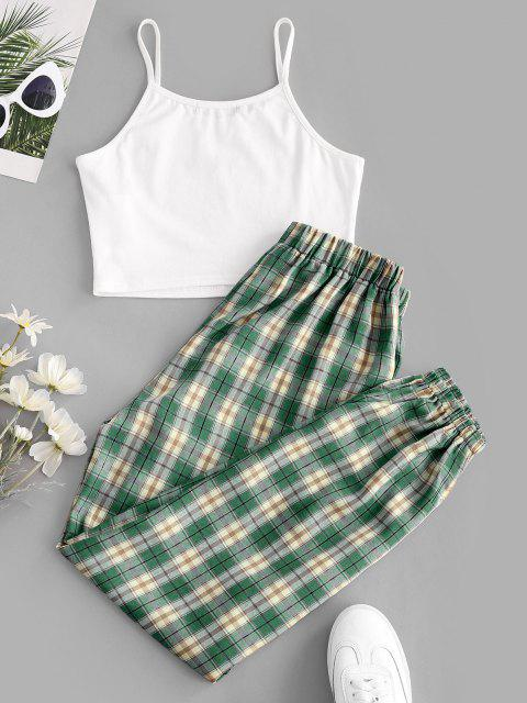 ZAFUL Floral Embroidered Plaid Jogger Two Piece Set - ديب غرين XL Mobile
