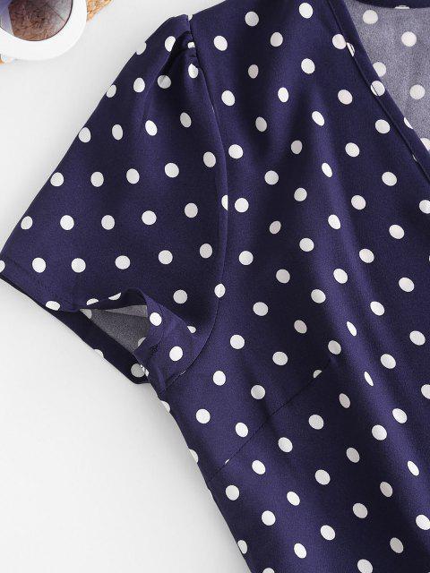 ladies Polka Dot Print Wrap Midi Dress - DEEP BLUE XL Mobile