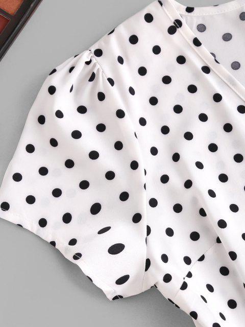 chic Polka Dot Print Wrap Midi Dress - WHITE S Mobile