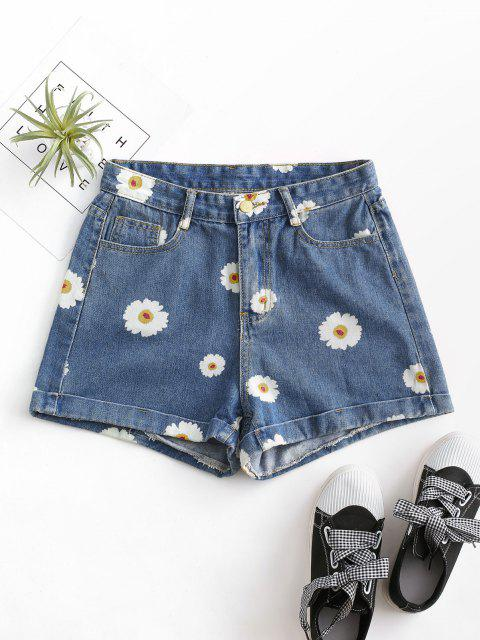 buy Cuffed Hem Daisy Print Denim Shorts - DEEP BLUE XS Mobile
