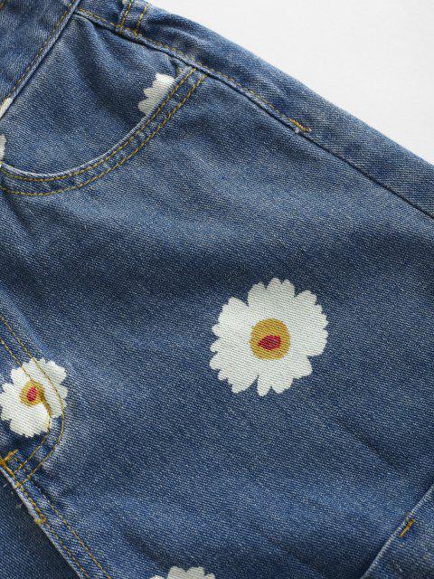 women's Cuffed Hem Daisy Print Denim Shorts - DEEP BLUE L Mobile