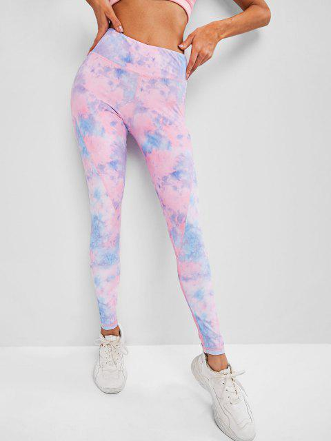 fancy High Waisted Tie Dye Topstitching Leggings - LIGHT PINK M Mobile