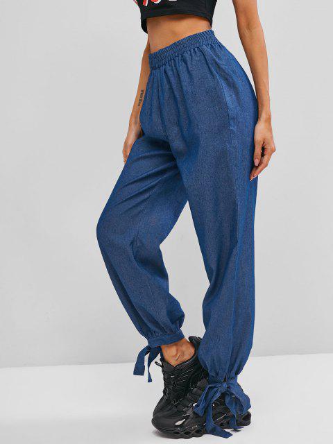 ZAFUL Pantalon Lâche à Ourlet Noué en Vichy - Bleu clair S Mobile