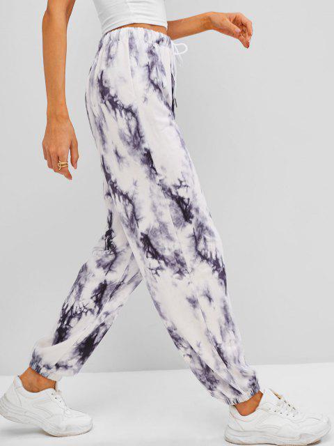 womens Tie Dye Drawstring Jogger Pants - GRAY L Mobile