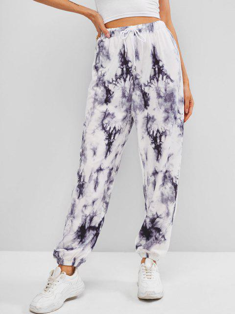 women's Tie Dye Drawstring Jogger Pants - GRAY M Mobile