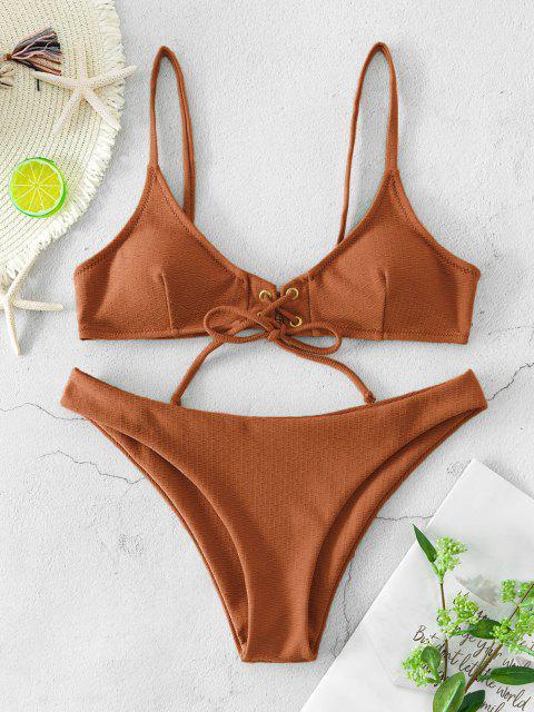 ZAFUL Bikini Badebekleidung mit Schnürung und Struktur - Kaffee S Mobile