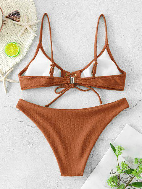 hot ZAFUL Lace Up Grommet Textured Bikini Swimsuit - COFFEE S Mobile