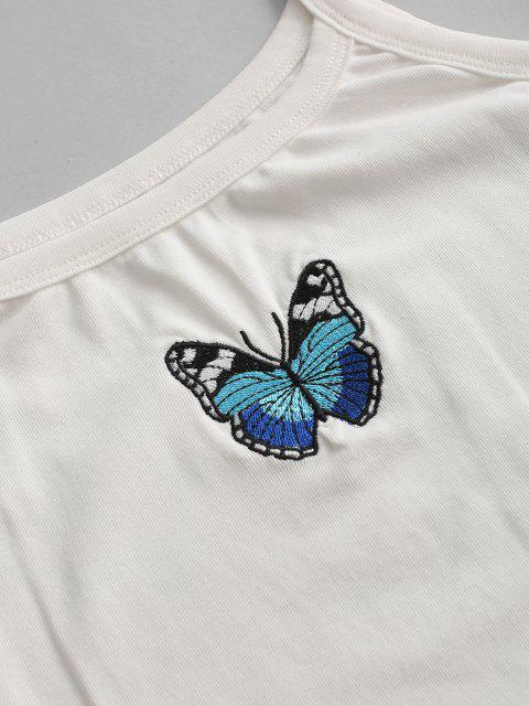 unique Snap Button Butterfly Embroidered Cami Bodysuit - WHITE M Mobile
