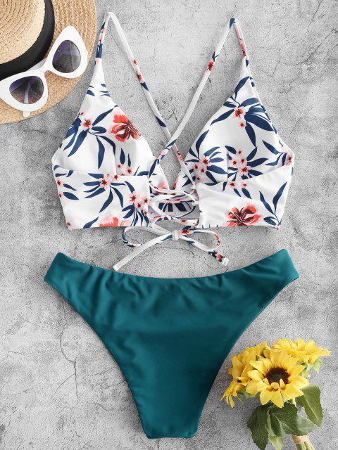ZAFUL Flower Leaf Criss Cross Lace Up Bikini Swimsuit - ديب غرين M Mobile